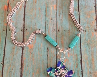 Turquoise Flower Pendant Chainmaille Necklace - Pendant Necklace - Chainmaille Pendant - Beads and Chainmaille - Half Persian Chain