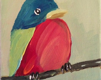 Painted Bunting 4x4 inch Painting