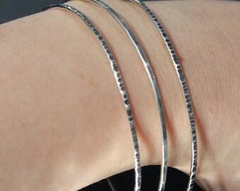 Skinny silver bangles,thin silver stacking bangles,sterling silver stacking bangles,hammered silver bangles, copper bangles,stacking bangles