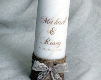 Rustic Unity Candles with jute wrapped taper candles