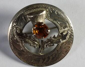 Vintage Scottish Silver Thistle/Mizpah Brooch