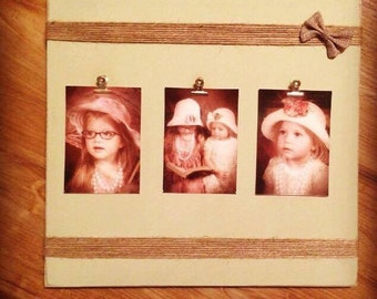 Rustic distressed photo holder twine burlap photo display