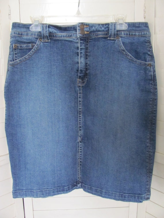 size 12 denim blue mini skirt faded distressed