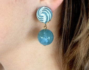 Sixties Baby Blue Clip On Earrings / Vintage 1960s Dangle Clips / Retro Boho Estate Jewellery