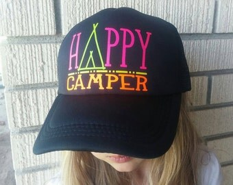 "Fun comfortable ""Happy Camper""trucker hats."