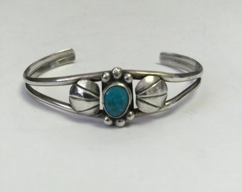 Vintage Sterling Silver Turquoise Stone Cuff Bracelet, Vintage Native American Turquoise Bracelet