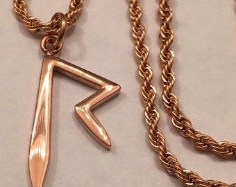 "1"" Rihanna ""R"" Pendant & 18"" Short Rope Chain (18k Rose Gold Plated)"