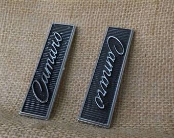 Chevrolet 68 69 Camaro Door Panel Emblems Pair of 1960s Original Chrome & Black Emblems  Door Panel Old Car Parts Chevy Collectibles