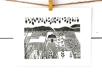 Home Print, Home Decor, Lino Print, Black and White Art, Linocut Print, Original Art, Cottage Print, Folk Art Print, Block Print
