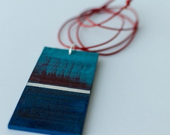 SOLD OUT, Jewelry, Wooden Necklace, Red Leather, Aluminum Sheet, Painting, Handmade, Hand painted, Pendant, One of a Kind