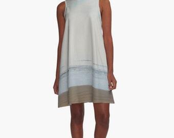 Breezy Dress Beach Print ~ Pale Blue A-Line Dress, Beach Cover Up, Ocean Print, Beach Photography, Sleeveless Dress, Women's XS S M L Xl 2Xl