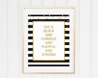 Kate spade quote wall art, party sign, party theme, Gold black, Nursery Quote print, Office wall art, black stripes print, instant download