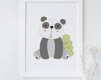 Panda wall art, Panda Nursery print, nursery animal print, printable nursery decor, printable wall art, instant download, panda wall art