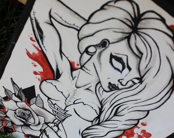 Zombie Girl Hand Painted Canvas Art