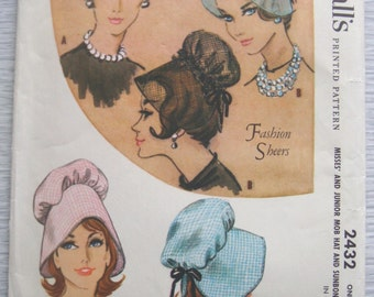 vintage McCalls 2432 HATS sewing pattern
