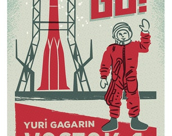 Vostok 1, Yuri Gagarin, Space, Illustration art print