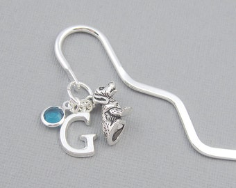 Personalized bookmark, dog bookmark, silver initial, crystal birthstone, dog lover, gift for her, teacher gift, student gift, literary gift