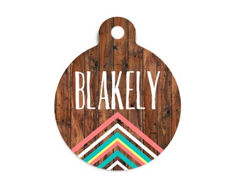 Tribal Dog Tag for Dogs, Faux Wood Dog Tag, Wood Pet Id Tag, Tribal Cat Tag, Boho Dog Tag, Boho Cat Tag, Custom Pet Id Tag, Custom Dog Tag