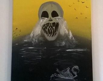 "Dark surrealism ""Creepy waterfall""  40x50cm"
