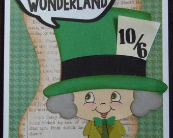 Alice in Wonderland Inspired Birthday Card (Mad Hatter)