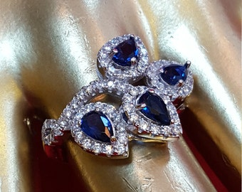 Sterling Silver Ring.925 Stamped Blue Sapphire And Diamond(MMD).Solitarie Ring.Halo Ring.Art Deco Ring.Handmade Ring.Engagement Ring.R271