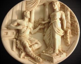 Ceramic Greek Style Plate Pygmalion and Galatea by Yiannis Koutsis 1989