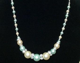 Ivory and mint green pearl necklace