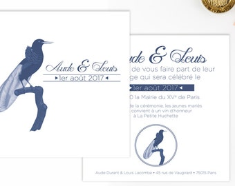 Wedding invitation, wedding and stationery porcelain blue and white