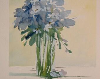 Blue flower painting, blue flower watercolor, original watercolor painting, blue flowers, blue bouquet, purple flowers, purple bouquet, #34