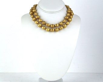 Vintage Gold Tone Brushed Two Strand Beaded Necklace Choker