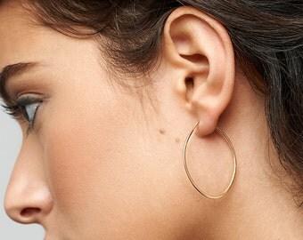 Dainty Gold Hoops, Oval Hoop Earrings Circle, Minimal Earrings in 14kt Gold Filled, Sterling Silver, Delicate Earrings [M B52]