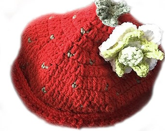 Strawberry hat with flower and leaves