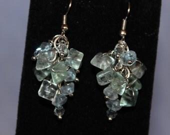 Aqua Blue Cluster Earrings