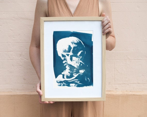 Van Gogh Skull with Cigarette, Cyanotype Print on Watercolor Paper, A4 size