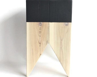 small black wood stool | modern stool | wood stump stool | plant stand | hand painted black | dip dye