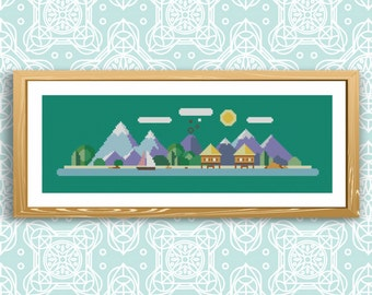 Counted cross stitch pattern mountain, Modern Cross Stitch Pattern, Digital PDF Format, PDF Instant download