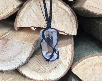 Clear Quartz hemp wrapped necklace
