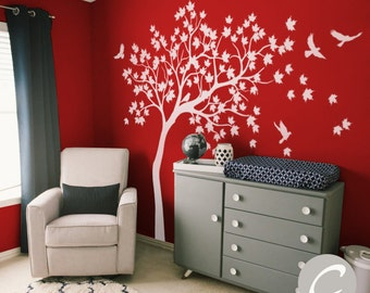 White Tree Wall Decal Huge Tree wall decal Wall Mural Stickers Nursery Tree and Birds Wall Art Tattoo Nature Wall Decor -AM016