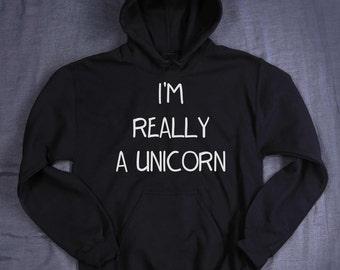 I'm Really A Unicorn Hoodie Slogan Fairy Magic Rainbows Animal Lover Tumblr Sweatshirt Jumper