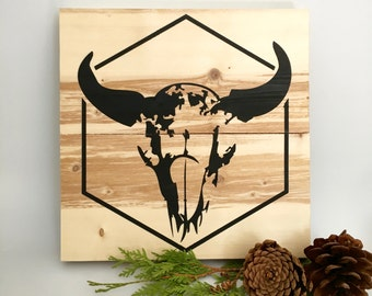Wood Wall Art, Cow Skull, Cow Skull Design, Cow Skull Painting, Skull Wooden Sign, Modern Skull, Skull Wall Hanging, Blonde Wood, Home Decor