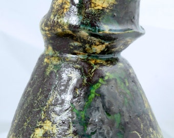 "Mid Cenury Modern Vase, Ceramic Multi-Colored Vase, Marcello Fantoni, Signed""Fantoni Italy"""