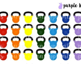 Rainbow Kettlebell Icons // Planner Stickers!