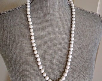 """SUMMER CLEARANCE: Vintage Necklace, White Acrylic Beads, 29"""" Long, Sixties Costume, Theater, Halloween, Dress Up, Ca. 1960s, Costume Jewelry"""