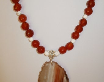 carnelian and agate necklace set