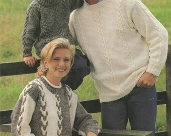 Family Sweater PDF Knitting Pattern : Mens . Womens . Boys . Girls 24, 26, 28, 30, 32, 34, 36, 38, 40 and 42 inch chest . Jumper . Download