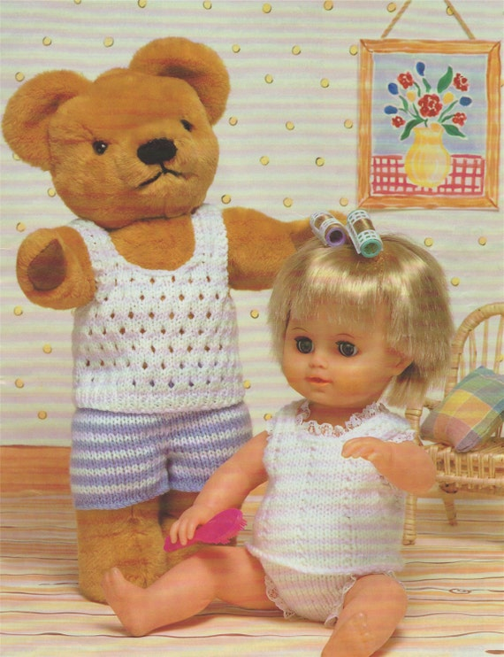 Knitting Patterns For Dolls And Teddy Bears : Teddy and Dolls Clothes Knitting Pattern : Dolly Clothes Ted