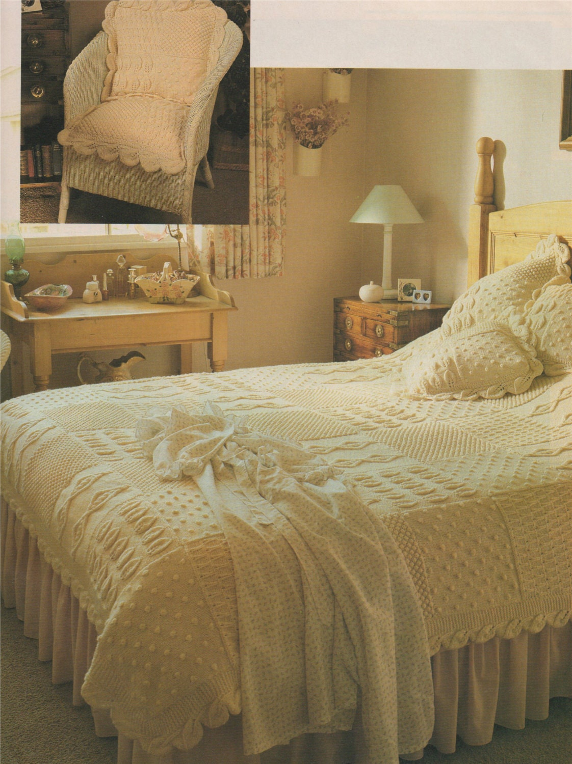Bedspread and cushion aran pdf knitting pattern throw for Studio one bed cover