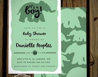 Elephant Baby Shower Invitation Girl or Boy Option Print
