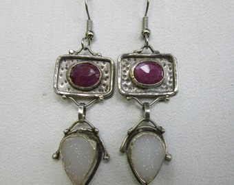 Handmade Sterling Silver Faceted Ruby and White Drusy Dangle Earrings, with Free Shipping
