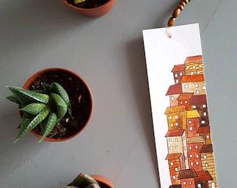"Bookmark ""seaside houses"" handmade gouache and Watercolour"